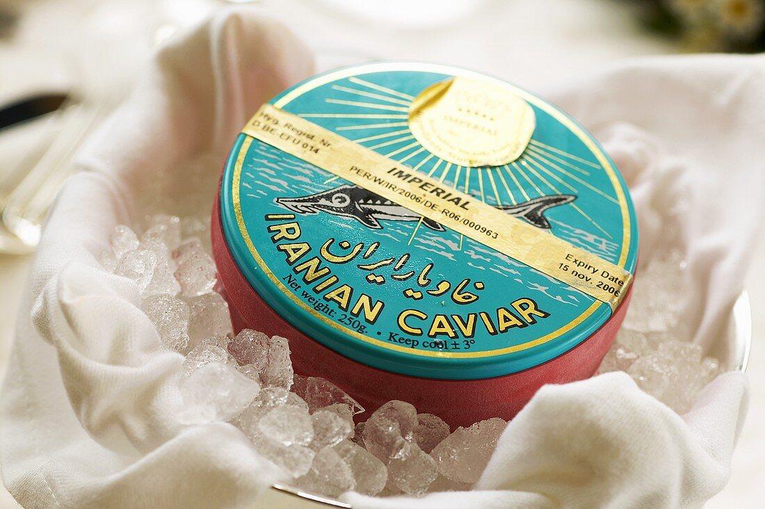 A tin of Ossetra caviar from Iran