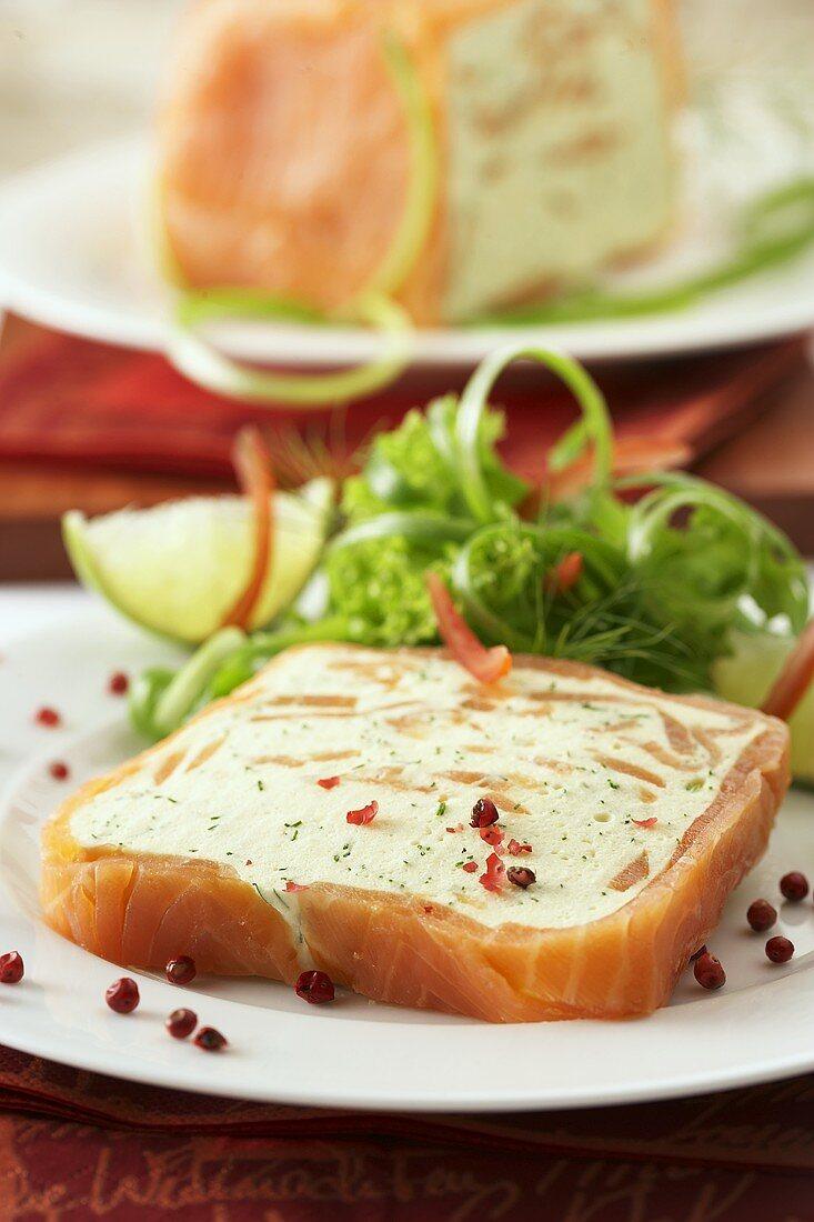 Salmon terrine with soft cheese