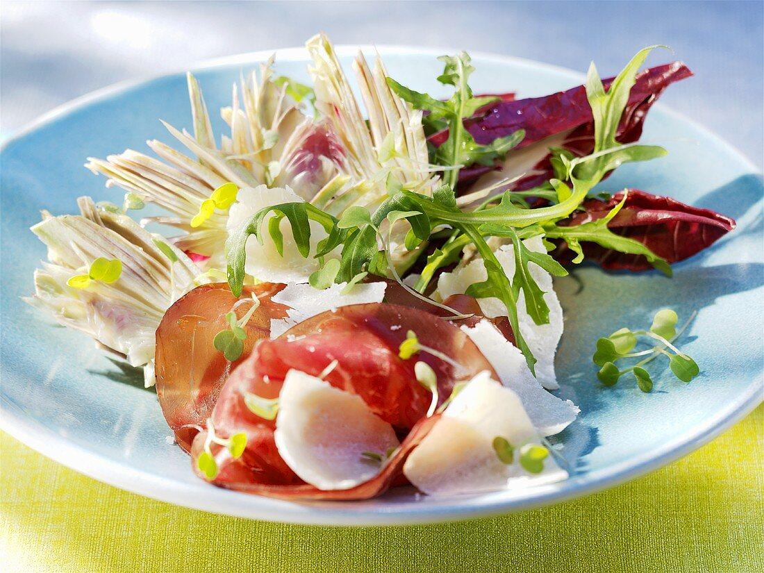 Artichoke salad with Bündnerfleisch (air-dried beef) & Parmesan