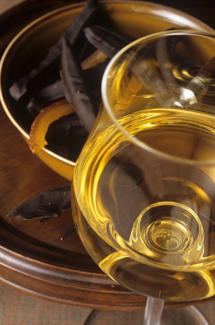 A glass of Vin de Paille (sweet wine, France)