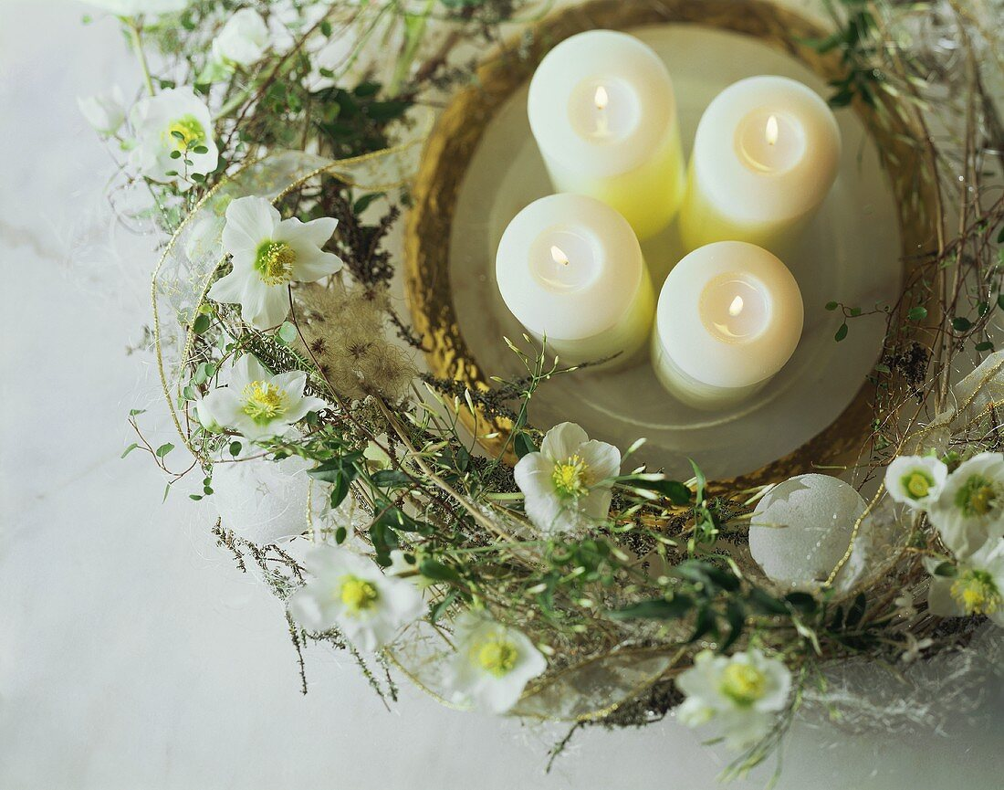 Four candles on plate surrounded by wreath of Christmas roses