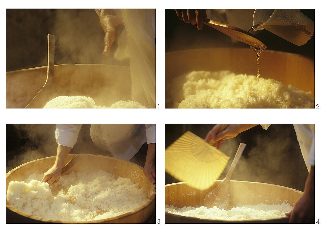 Preparing sushi rice