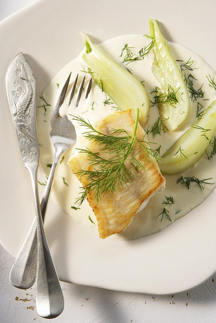 Haddock fillet with Pernod sauce and fennel
