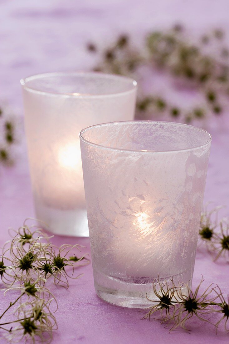 Frosted glasses with clematis seed heads