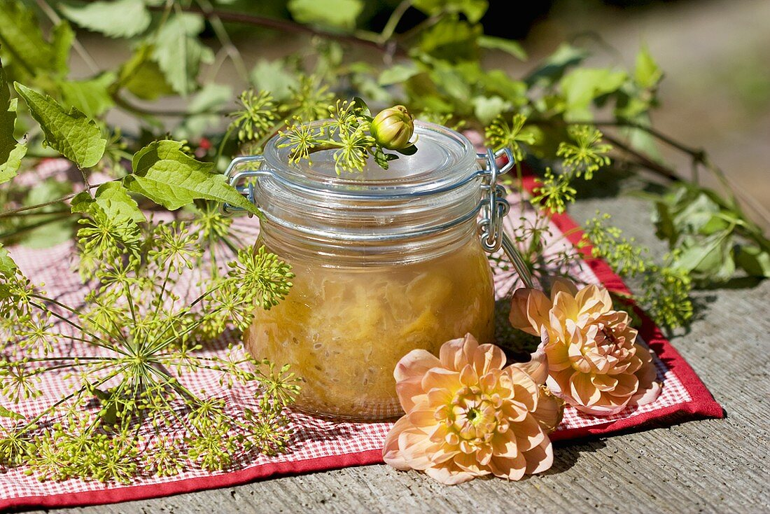 Gooseberry chutney in preserving jar