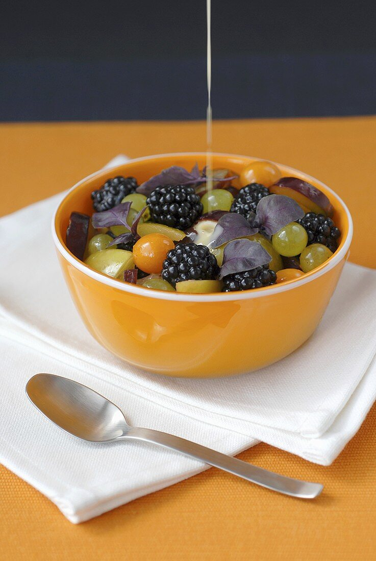 Fruit salad with blackberries and grapes