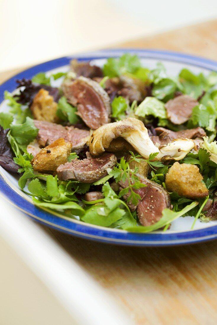 Salad leaves with roast pigeon breast and mushrooms