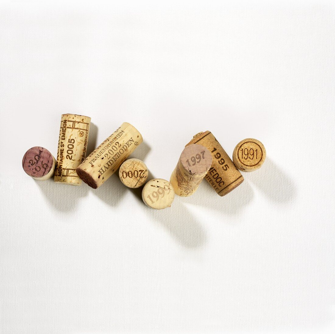 Various corks featuring years