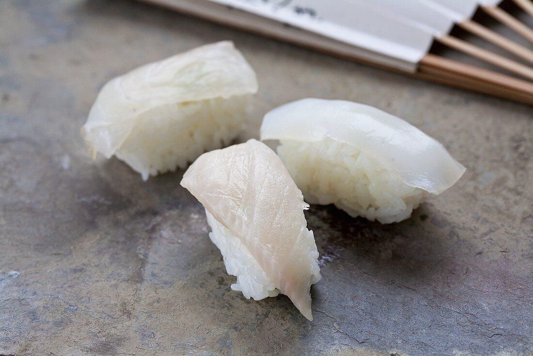 Nigiri sushi with 'hirame' (flatfish), Japan