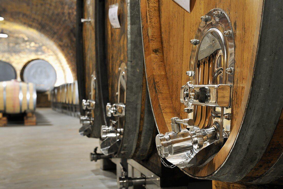 Wooden barrels in wine cellar