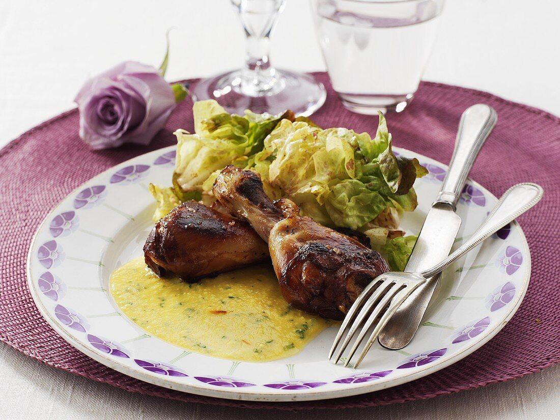 Roast chicken legs with almond sauce