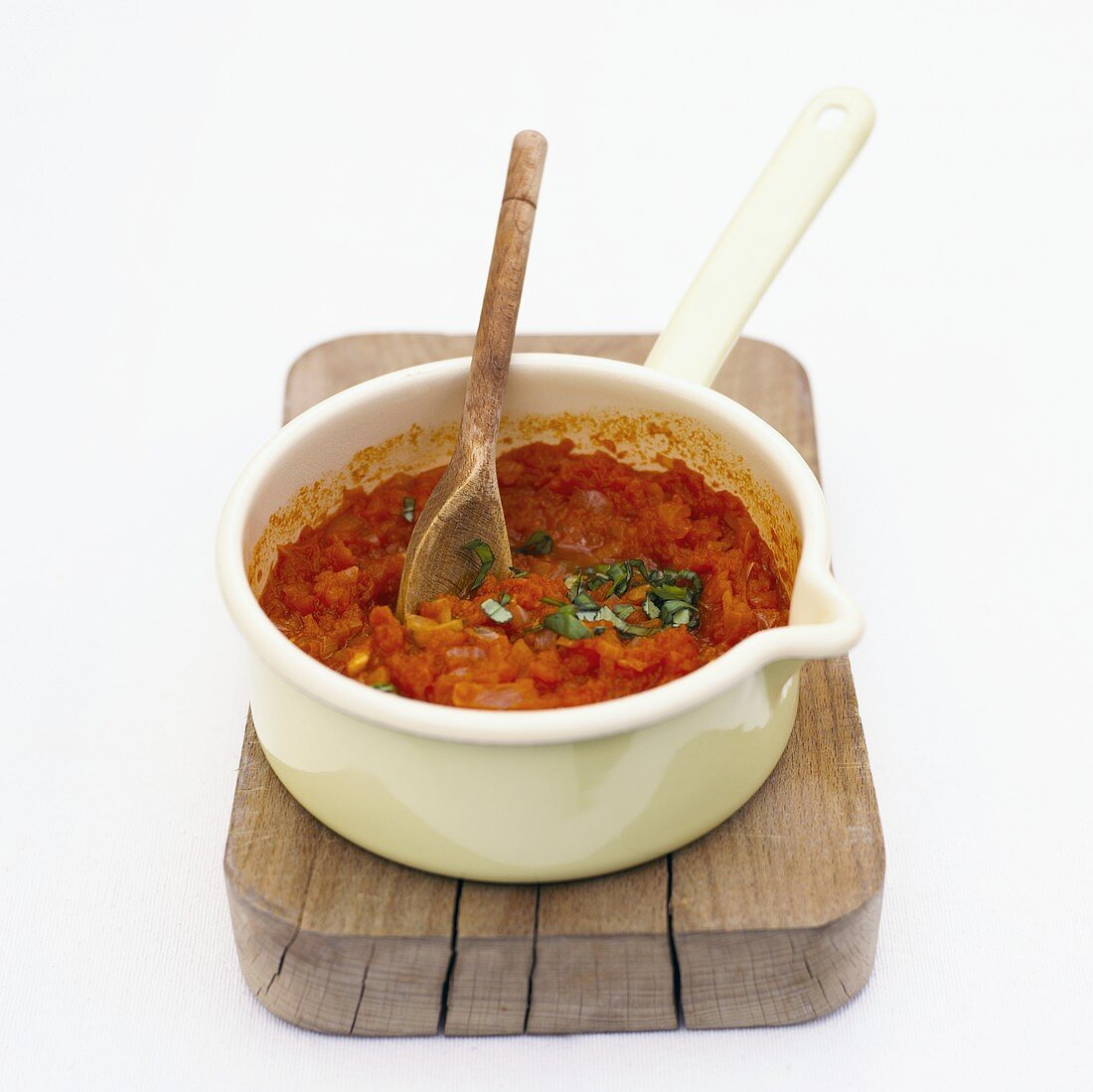 Tomato and vegetable sauce in a pan