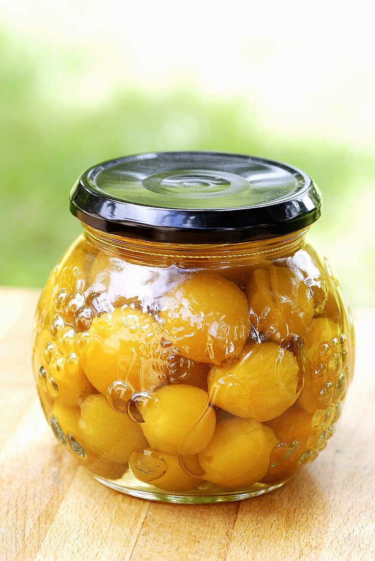 Mirabelles preserved in alcohol