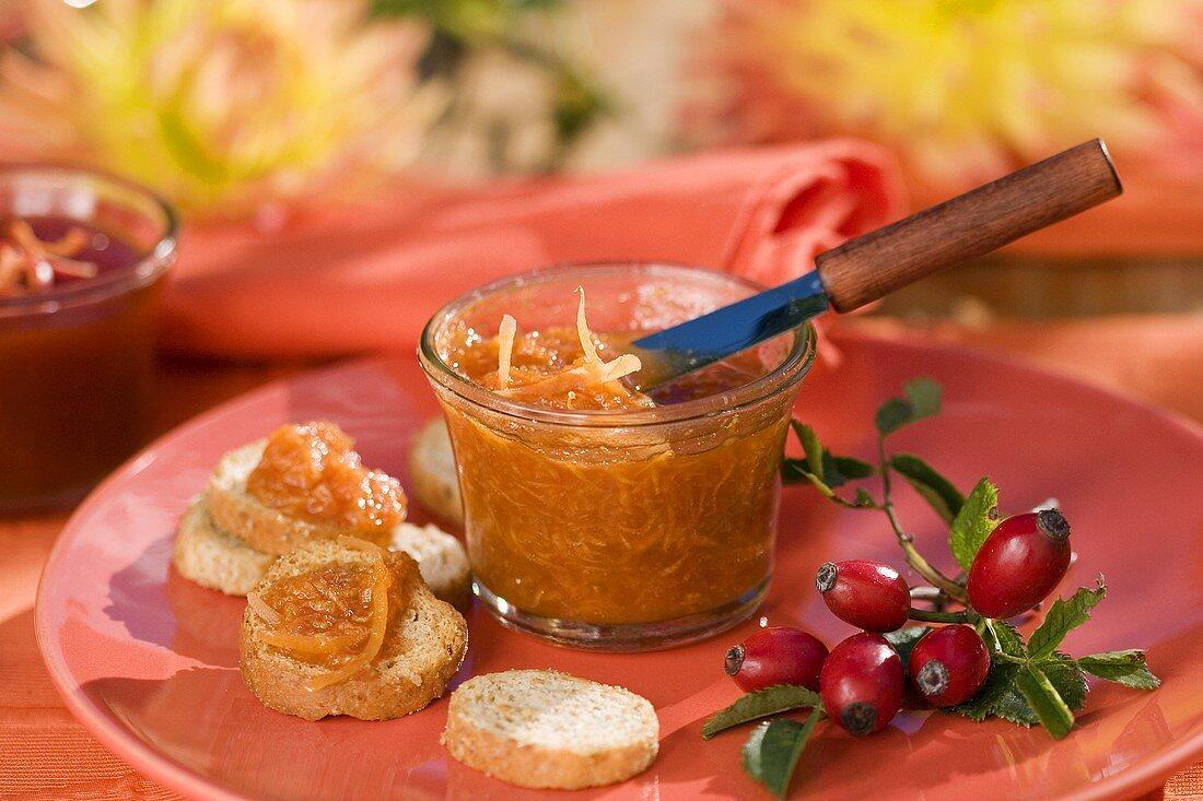 Rose hip and pumpkin jam