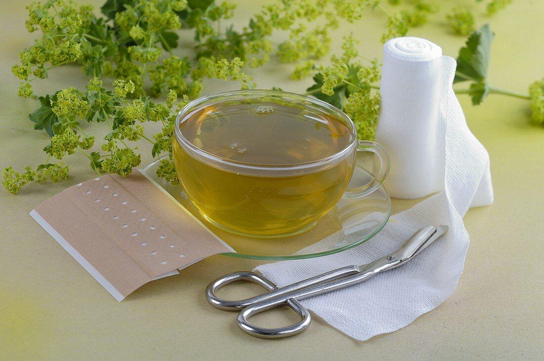 Lady's mantle tea with sticking plaster and gauze bandage