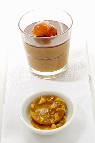 Chocolate mousse with candied fruit