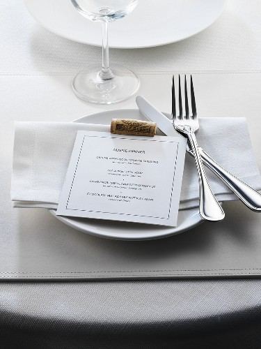 Place-setting with menu for an Australian dinner