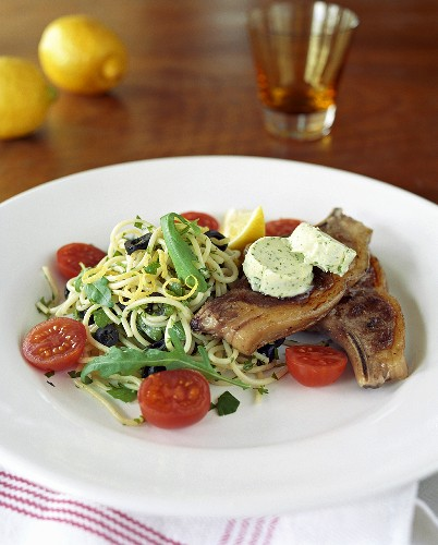 Fried belly pork with herb butter and spaghetti