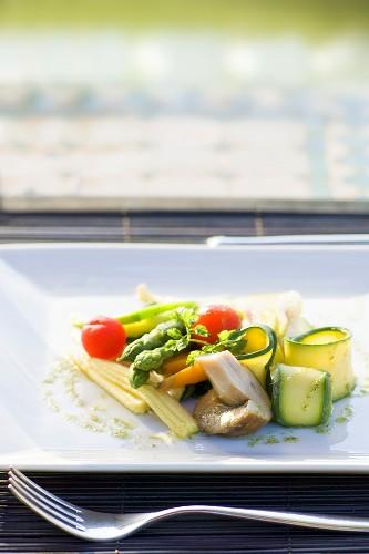 Vegetable platter with mushrooms