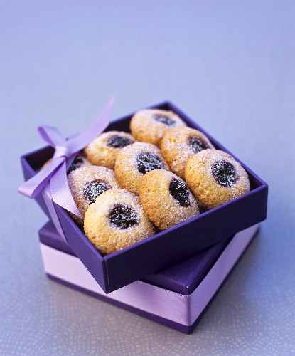 Jam biscuits in a gift box