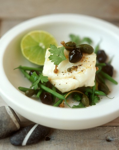 Cod Fillet Over Green Bean and Caper Salad