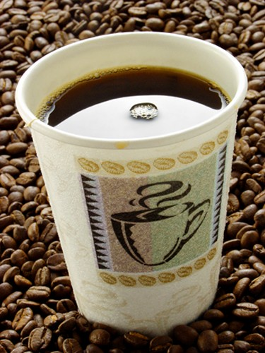 Cup of Coffee in a Paper Cup Resting on Coffee beans