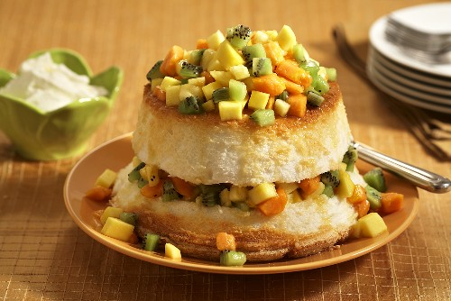Angel Food Cake Layered with Chopped Tropical Fruit