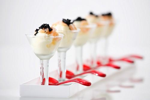 Cream cheese sorbet with smoked salmon and caviar