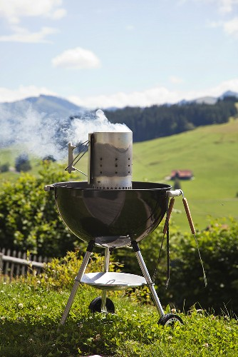 A barbeque in alpine meadow