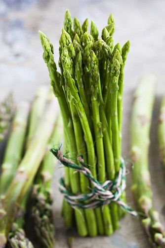 A bundle of green asparagus