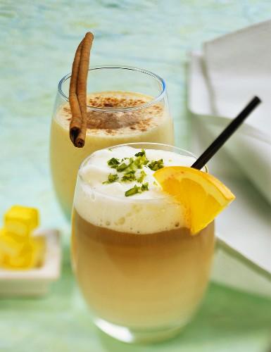 Mocha milk with orange liqueur and apricot milk with rum