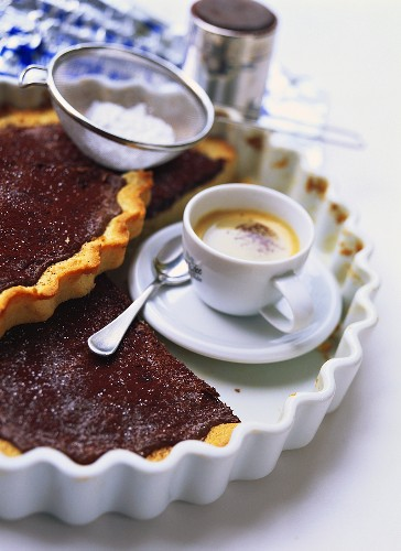 Chocolate spread tart and a cup of espresso