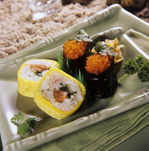 Maki-sushi with omelette and with nori
