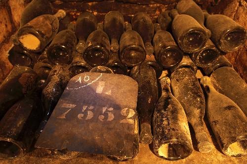 Old bottles of Chateau de Pommard Burgundy