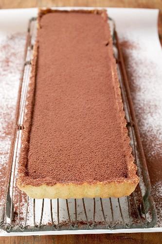 Rectangular chocolate tart with cocoa powder