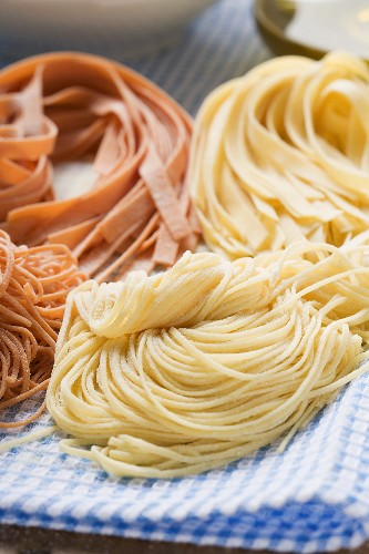 Various types of home-made pasta
