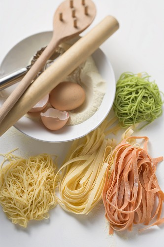 Home-made coloured pasta with ingredients
