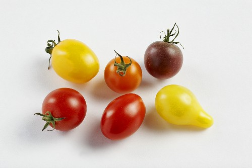 Tomatoes of various colours on white background