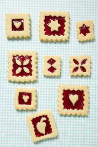 Nine square jam biscuits