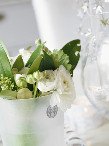 Bunch of white flowers in water