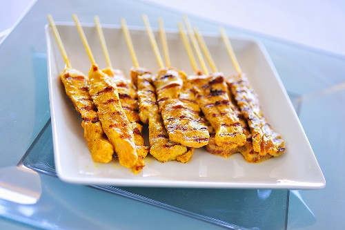 Grilled pork and chicken satay