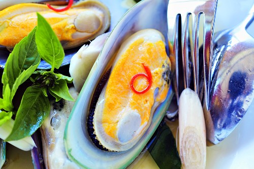 New Zealand mussels in white wine with lemon grass