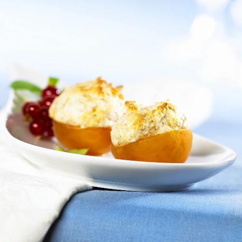 Apricots stuffed with Amaretto almond foam