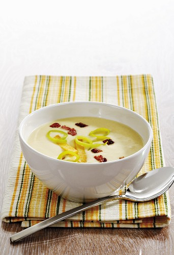 Rutabaga vegetable cream soup with bacon on napkin, spoon aside