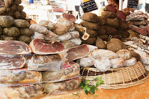 A charcuterie market stall in France