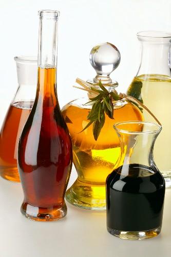 Various types of oil and balsamic vinegar