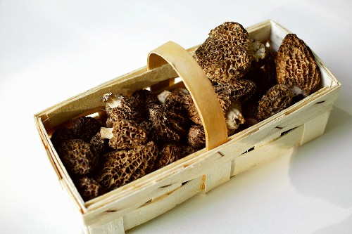 Morels in chip basket