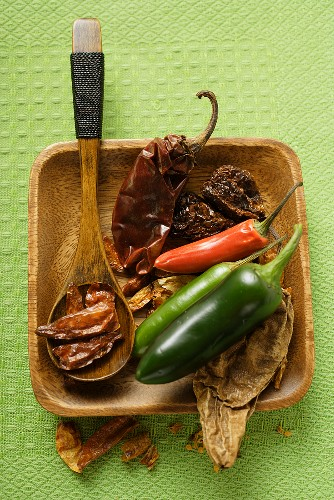 Various dried and fresh chili peppers
