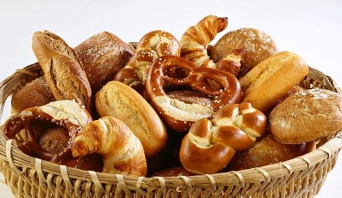 Basket of assorted baked goods