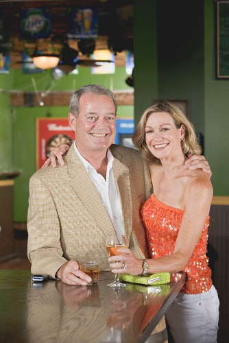 Mature couple in a pub